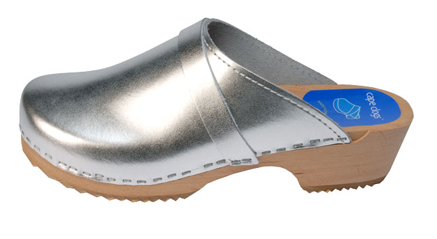 Image result for silver clogs