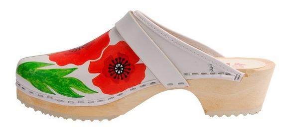 Handpainted Poppies clog