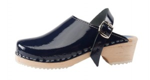 new navy blue patent leather clog